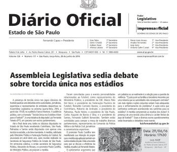 Publicado no Diário Oficial: Assembleia Legislativa debate Torcida Única