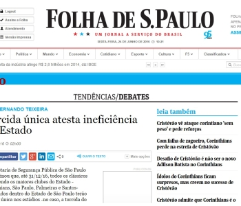 Artigo sobre Torcida Única publicado na Folha de S.Paulo