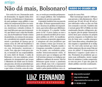 Artigo Diário do Grande ABC – Não dá mais, Bolsonaro!