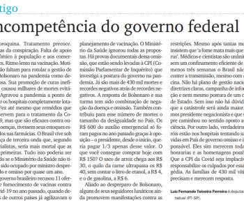 Incompetência do Governo Federal – artigo Diário do Grande ABC